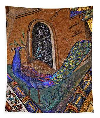 Peacock. Ancient Mosaic. Tapestry