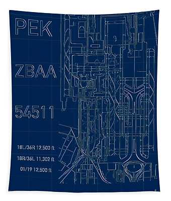 Pek Beijing Capital Airport Blueprint Tapestry