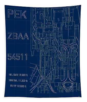 Pek Beijing Capital Airport Blueprint Tapestry