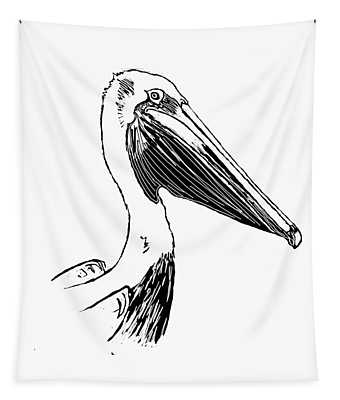 Pelican On Waves Tapestry
