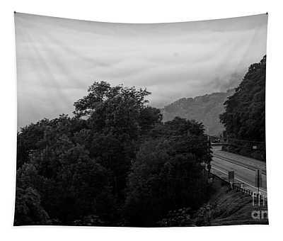 Pennsylvania Road Travel Landscape Bw Tapestry