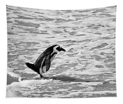 Penguin On A Beach - Bath Time Tapestry