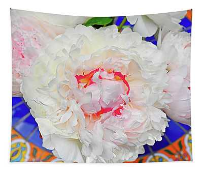 Peonies On A Garden Table Tapestry