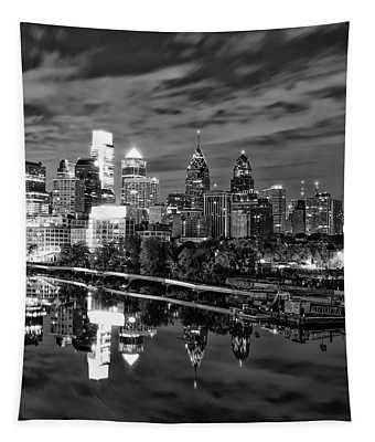 Philadelphia Cityscape Reflection In Black And White Tapestry