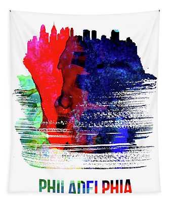 Philadelphia Skyline Brush Stroke Watercolor   Tapestry