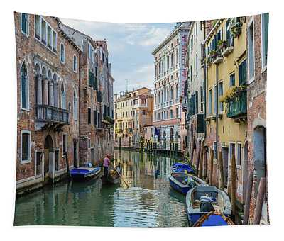 Gondolier On Canal Venice Italy Tapestry