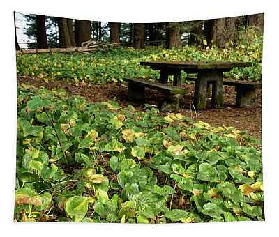 Picnic  Table In The Forest  Tapestry