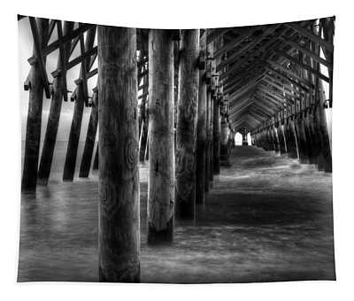 Pier Pilings In Black And White Tapestry