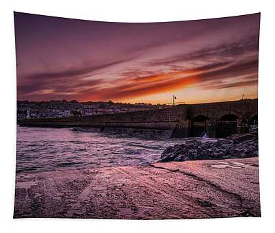 Pier To Pier Sunset Tapestry