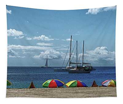 Pigeon Island Beach On St. Lucia Tapestry
