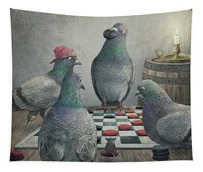 Pigeons Playing Checkers Tapestry