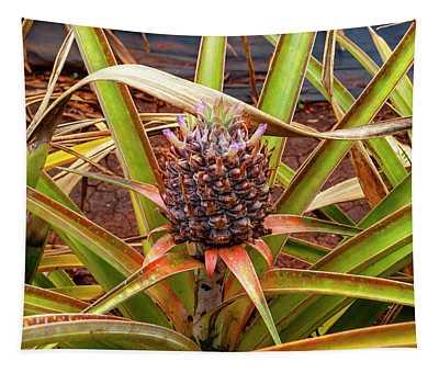 Pineapple Purple Flowers Tapestry