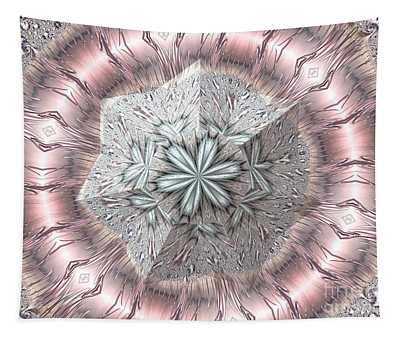 Pink And White Diamond Tiara Fractal Abstract Tapestry