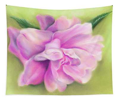 Pink Camellia With Leaves Tapestry