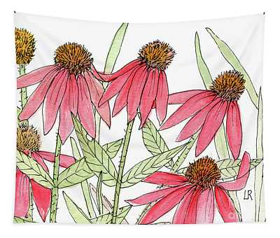 Pink Coneflowers Gather Watercolor Tapestry