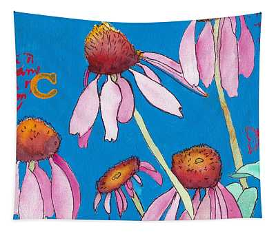 Pink Coneflowers Tapestry