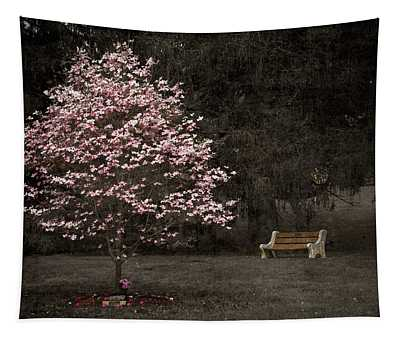 Pink Dogwood Tree And A Bench Tapestry