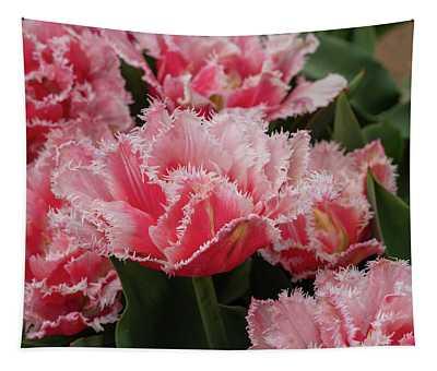 Pink Fringe Tulips Tapestry