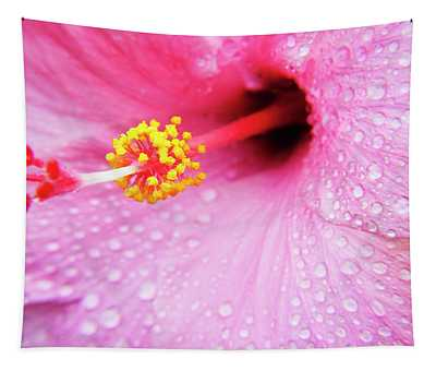 Pink Hibiscus Drops Tapestry