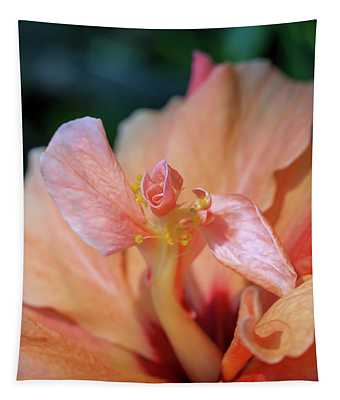 Pink Hibiscus Flower Tapestry