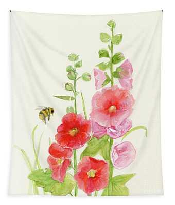Pink Hollyhock Watercolor Tapestry