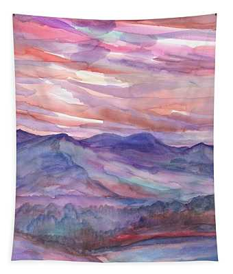 Pink Mountain Landscape Tapestry