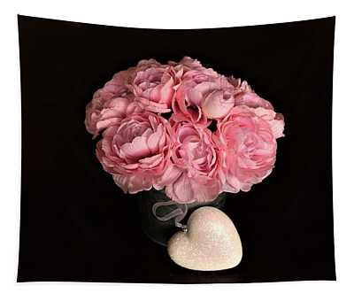 Pink Peonies And Heart On Black Tapestry