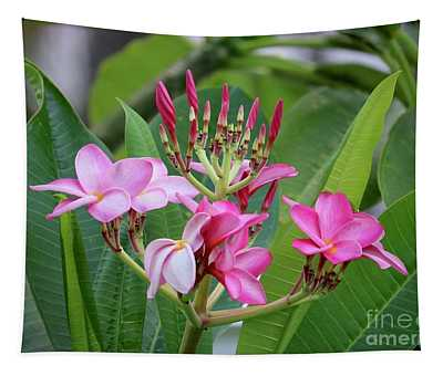 Pink Plumeria With Leaves Tapestry