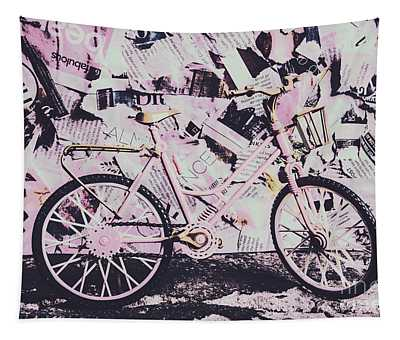 Pink Posterized Pushbike Tapestry