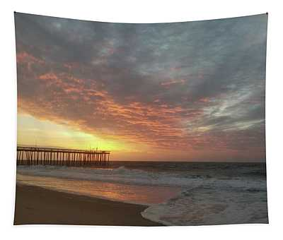 Pink Rippling Clouds At Sunrise Tapestry