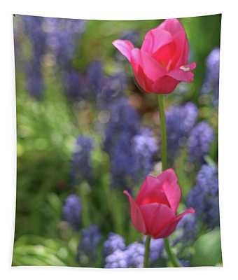 Pink Tulips On A Breezy Spring Day Tapestry