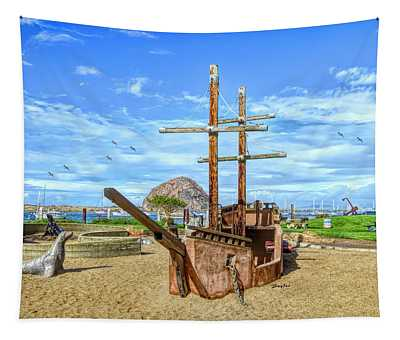 Pirate Ship At Morro Rock Large Tapestry