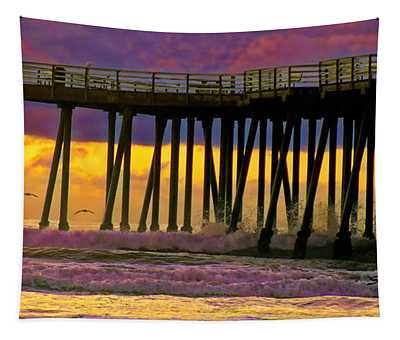 Pismo Beach Pier Seagull II Tapestry