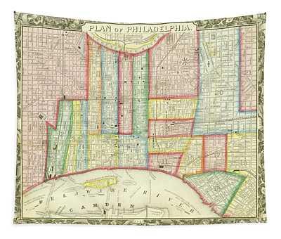 Plan Of Philadelphia, 1860 Tapestry