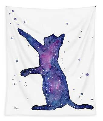 Playful Galactic Cat Tapestry