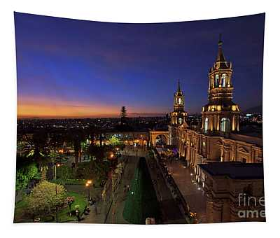 Plaza De Armas And Cathedral Of Arequipa, Peru Tapestry