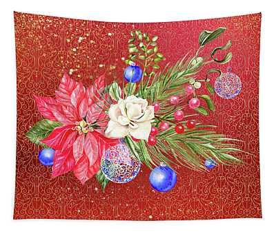 Poinsettia With Blue Ornaments  Tapestry