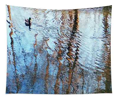 Pond Abstract Plus Duck Tapestry