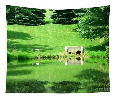 Pond At Saint Josephs Monastery In Saint Marys Pennsylvania Tapestry