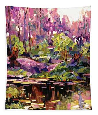 Pond At Sunset - Plein Aire Tapestry
