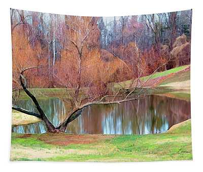 Pond On The Farm Tapestry