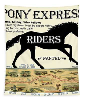 Pony Express Want Ad Tapestry
