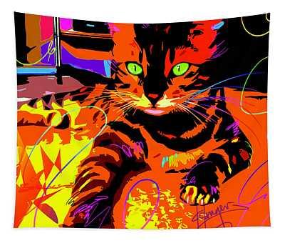 Pop Cat Bengal Tapestry