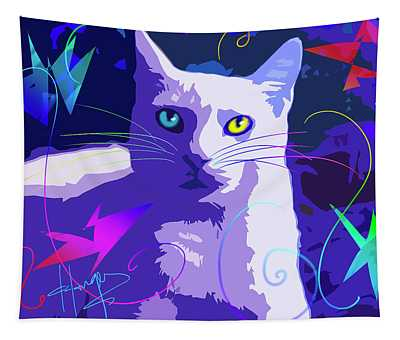 Pop Cat Blue Tapestry