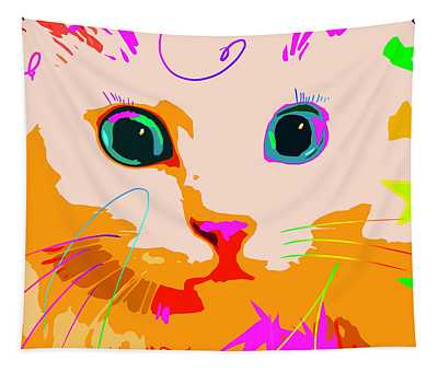 Pop Cat Creamsicle Tapestry