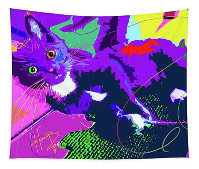 Pop Cat Kitten With String Tapestry