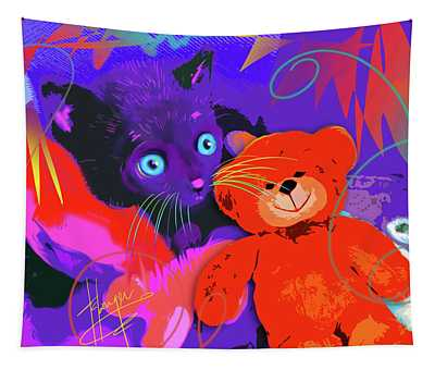 pOp Cat Teddy And His Teddy Tapestry