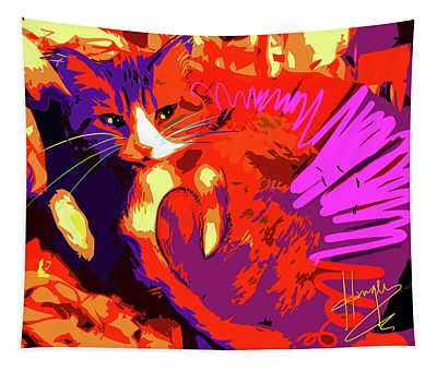 Pop Cat Tiger Tapestry