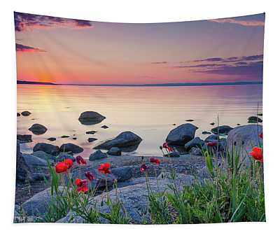 Poppies By The Sea Tapestry