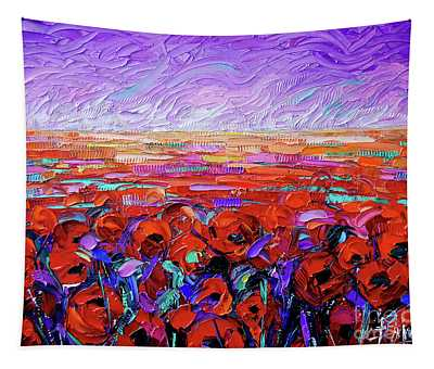 Poppy Field Beneath The Purple Skies Palette Knife Impasto Oil Painting Mona Edulesco Tapestry